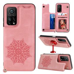 Luxury Mandala Multi-function Magnetic Card Slots Stand Leather Back Cover for Xiaomi Mi 10T / 10T Pro 5G - Rose Gold