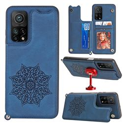 Luxury Mandala Multi-function Magnetic Card Slots Stand Leather Back Cover for Xiaomi Mi 10T / 10T Pro 5G - Blue