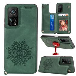 Luxury Mandala Multi-function Magnetic Card Slots Stand Leather Back Cover for Xiaomi Mi 10T / 10T Pro 5G - Green