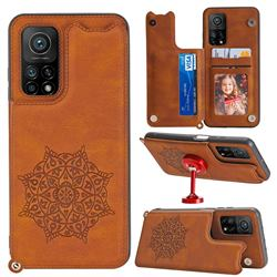 Luxury Mandala Multi-function Magnetic Card Slots Stand Leather Back Cover for Xiaomi Mi 10T / 10T Pro 5G - Brown