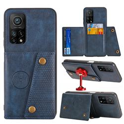 Retro Multifunction Card Slots Stand Leather Coated Phone Back Cover for Xiaomi Mi 10T / 10T Pro 5G - Blue