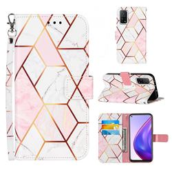 Pink White Stitching Color Marble Leather Wallet Case for Xiaomi Mi 10T / 10T Pro 5G