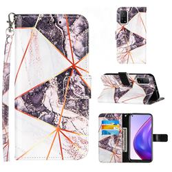 Black and White Stitching Color Marble Leather Wallet Case for Xiaomi Mi 10T / 10T Pro 5G