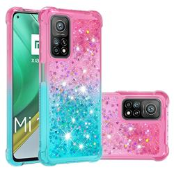 Rainbow Gradient Liquid Glitter Quicksand Sequins Phone Case for Xiaomi Mi 10T / 10T Pro 5G - Pink Blue