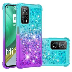 Rainbow Gradient Liquid Glitter Quicksand Sequins Phone Case for Xiaomi Mi 10T / 10T Pro 5G - Blue Purple
