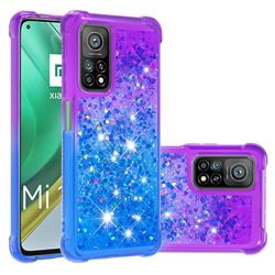 Rainbow Gradient Liquid Glitter Quicksand Sequins Phone Case for Xiaomi Mi 10T / 10T Pro 5G - Purple Blue