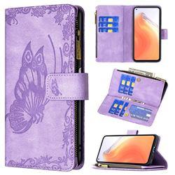Binfen Color Imprint Vivid Butterfly Buckle Zipper Multi-function Leather Phone Wallet for Xiaomi Mi 10T / 10T Pro 5G - Purple