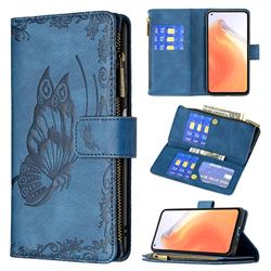 Binfen Color Imprint Vivid Butterfly Buckle Zipper Multi-function Leather Phone Wallet for Xiaomi Mi 10T / 10T Pro 5G - Blue