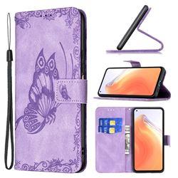 Binfen Color Imprint Vivid Butterfly Leather Wallet Case for Xiaomi Mi 10T / 10T Pro 5G - Purple