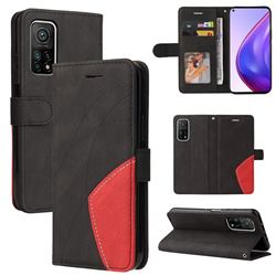 Luxury Two-color Stitching Leather Wallet Case Cover for Xiaomi Mi 10T / 10T Pro 5G - Black