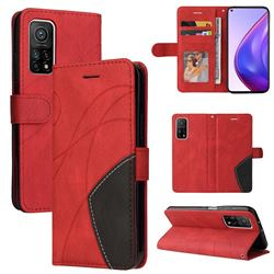 Luxury Two-color Stitching Leather Wallet Case Cover for Xiaomi Mi 10T / 10T Pro 5G - Red