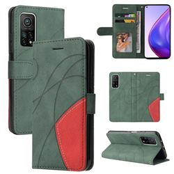 Luxury Two-color Stitching Leather Wallet Case Cover for Xiaomi Mi 10T / 10T Pro 5G - Green