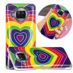 Rainbow Heart Painted Galvanized Electroplating Soft Phone Case Cover for Xiaomi Mi 10T Lite 5G