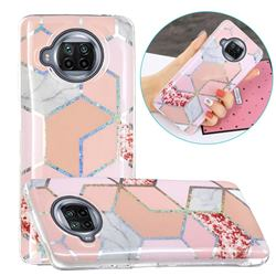 Pink Marble Painted Galvanized Electroplating Soft Phone Case Cover for Xiaomi Mi 10T Lite 5G