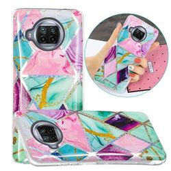 Triangular Marble Painted Galvanized Electroplating Soft Phone Case Cover for Xiaomi Mi 10T Lite 5G