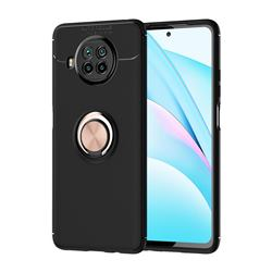 Auto Focus Invisible Ring Holder Soft Phone Case for Xiaomi Mi 10T Lite 5G - Black Gold