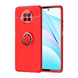 Auto Focus Invisible Ring Holder Soft Phone Case for Xiaomi Mi 10T Lite 5G - Red