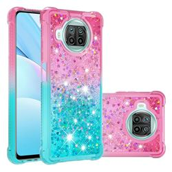 Rainbow Gradient Liquid Glitter Quicksand Sequins Phone Case for Xiaomi Mi 10T Lite 5G - Pink Blue