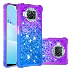 Rainbow Gradient Liquid Glitter Quicksand Sequins Phone Case for Xiaomi Mi 10T Lite 5G - Purple Blue