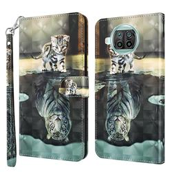 Tiger and Cat 3D Painted Leather Wallet Case for Xiaomi Mi 10T Lite 5G
