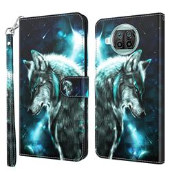 Snow Wolf 3D Painted Leather Wallet Case for Xiaomi Mi 10T Lite 5G