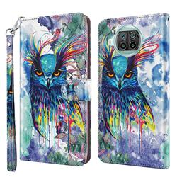 Watercolor Owl 3D Painted Leather Wallet Case for Xiaomi Mi 10T Lite 5G