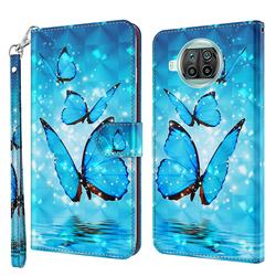 Blue Sea Butterflies 3D Painted Leather Wallet Case for Xiaomi Mi 10T Lite 5G