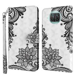 Black Lace Flower 3D Painted Leather Wallet Case for Xiaomi Mi 10T Lite 5G