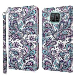 Swirl Flower 3D Painted Leather Wallet Case for Xiaomi Mi 10T Lite 5G