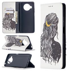 Girl with Long Hair Slim Magnetic Attraction Wallet Flip Cover for Xiaomi Mi 10T Lite 5G
