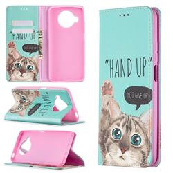 Hand Up Cat Slim Magnetic Attraction Wallet Flip Cover for Xiaomi Mi 10T Lite 5G