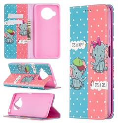 Elephant Boy and Girl Slim Magnetic Attraction Wallet Flip Cover for Xiaomi Mi 10T Lite 5G