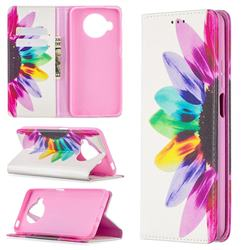 Sun Flower Slim Magnetic Attraction Wallet Flip Cover for Xiaomi Mi 10T Lite 5G