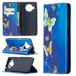 Gold Butterfly Slim Magnetic Attraction Wallet Flip Cover for Xiaomi Mi 10T Lite 5G