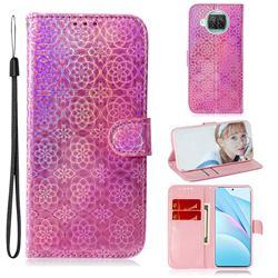 Laser Circle Shining Leather Wallet Phone Case for Xiaomi Mi 10T Lite 5G - Pink