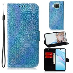 Laser Circle Shining Leather Wallet Phone Case for Xiaomi Mi 10T Lite 5G - Blue