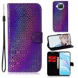Laser Circle Shining Leather Wallet Phone Case for Xiaomi Mi 10T Lite 5G - Purple