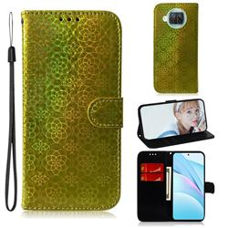 Laser Circle Shining Leather Wallet Phone Case for Xiaomi Mi 10T Lite 5G - Golden