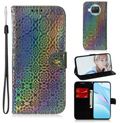 Laser Circle Shining Leather Wallet Phone Case for Xiaomi Mi 10T Lite 5G - Silver