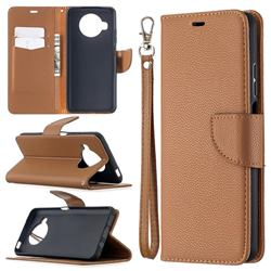 Classic Luxury Litchi Leather Phone Wallet Case for Xiaomi Mi 10T Lite 5G - Brown
