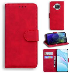 Retro Classic Skin Feel Leather Wallet Phone Case for Xiaomi Mi 10T Lite 5G - Red