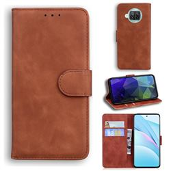 Retro Classic Skin Feel Leather Wallet Phone Case for Xiaomi Mi 10T Lite 5G - Brown