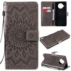 Embossing Sunflower Leather Wallet Case for Xiaomi Mi 10T Lite 5G - Gray