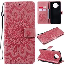 Embossing Sunflower Leather Wallet Case for Xiaomi Mi 10T Lite 5G - Pink