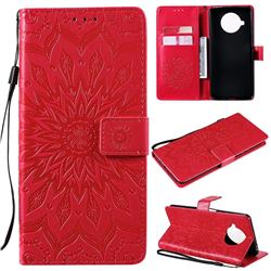 Embossing Sunflower Leather Wallet Case for Xiaomi Mi 10T Lite 5G - Red