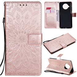 Embossing Sunflower Leather Wallet Case for Xiaomi Mi 10T Lite 5G - Rose Gold