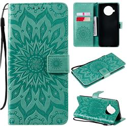 Embossing Sunflower Leather Wallet Case for Xiaomi Mi 10T Lite 5G - Green