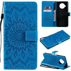 Embossing Sunflower Leather Wallet Case for Xiaomi Mi 10T Lite 5G - Blue