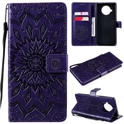 Embossing Sunflower Leather Wallet Case for Xiaomi Mi 10T Lite 5G - Purple
