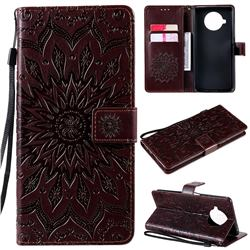 Embossing Sunflower Leather Wallet Case for Xiaomi Mi 10T Lite 5G - Brown